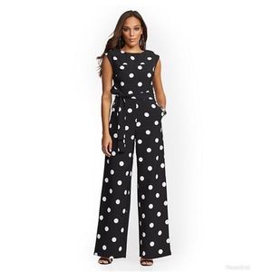 New York & Company Black Dot-Print Jumpsuit